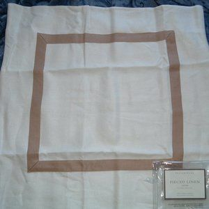 Pottery Barn pieced linen euro pillow sham 26 x 26